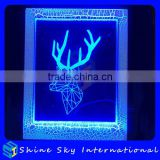 Creative Christmas Decoration Gift 3D Deer Photo Frame LED 7 Colors Flashing Desk Night Light