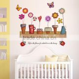 2015 wall stickers home decor popular New Diy Child Home Decor Flower Pot With Butterfly Wall Decal Stickers Home Decor JM5120