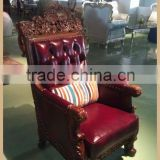 The most top genuine leather sofa best quality wood carved leather sofa heavy leather sofa