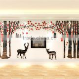 Forest tree deer crystal acrylic 3D three-dimensional wall stickers living room sofa bedroom TV background wall decoration stick