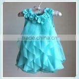 wholesale blue baby romper soft chiffon baby romper dress with flower new born baby clothes