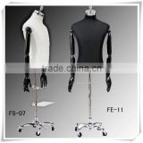 male woodern arm linen half body tailor dress form mannequin