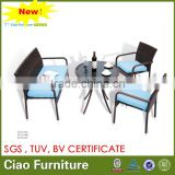 HIGH QUALITY OUTDOOR COFFEE TABLE SET DARK BROWN COFFEE WICKER TABLE CHAIRS