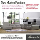 JR8031 elegant chic contemporary grey cow leather L shape living room luxury soft down cushion sofa