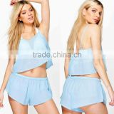 Design Your Own Swimsuit Beach Co-ord Fashion Chiffon Lady Top Designer And Swim Shorts Pants