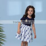European style new model children designs one piece frock dress baby girl summer fox print dress