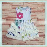 Hot sale 2017 summer latest long skirt design children's cartoon flowers pattern boutique clothing girl sleeveless dress