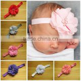 Factory Price Hot Sale ribbon flower cute plain baby headbands kid hair accessory