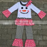 Hot sale Spring Baby pretty girl clothing Christmas Smile face tops with strips ruffle pants print clothing set