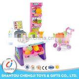 Girl play set kids plastic supermarket toy set with light and music