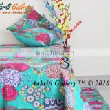 INDIAN KANTHA QUILT FRUIT PRINT SINGLE KANTHA BEDSPREAD QUILT THROW SEA GREEN COLOR HANDMADE 100% COTTON COMFORTER