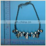Fashion necklace manufacturers gold plated alloy zinc, resin,acrylic necklace