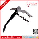 Wine Opener Waiters Corkscrew,Double Hinged Corkscrew + Foil Cutter Knife + Cap Opener - Easy One Hand Operation