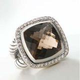 Sterling Silver Jewelry 14mm Smoky Quartz Albion Ring(R-102)