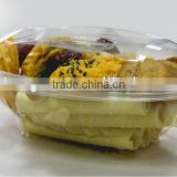 Clear disposable plastic clamshell food package box, PET cookie container, clear plastic package box