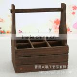 Wholesale FSC Pine wooden beer Bucket, Cheap Wooden 6 Pack Bottle Beer Carrier, Wine Bucket 6 bottles