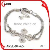 stainless steel new gold chain design for men silver color cross pendant chain bracelets