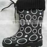 Winter Warm Knitting Collar Kids Rubber Rain Boots