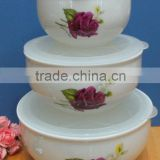 Factory directly sell good porcelain bowl with cover 3 pcs 1set food storage bowl set-rose