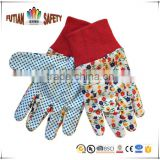 FTSAFETY Assorted Floral Print 100% Poly-cotton Clute Pattern PVC Dots Knit Wrist Gareden Gloves