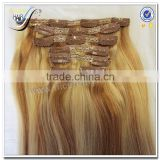 100% Real Human Hair Wholesale Cheap Piano Color Human Hair Weave blonde highlighted clip in human hair extensions