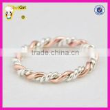 Fashion jewelry gold stacked rings wholesale sterling silver and rose gold twist ring