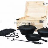 7 pieces Camping cast iron cookware set/ cooking set