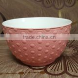 500 ML pink glazed outside embossed porcelain salad bowl