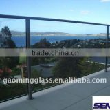 10mm&12mm Clear Toughened Laminated Glass Balustrade/Handrail/balcony railing designs