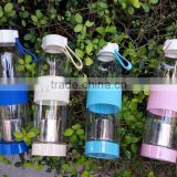 Portable travel glass water bottle filter tea sports leak-proof with silicone sleeve 420ml/550ml infuser bottle glass bpa free