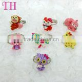ODM mixed 7pcs glitter resin custom shape ring kids finger cat plastic ring