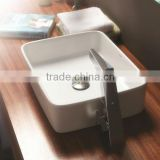 2015 new design square ceramic bathroom washing basin C2293W wall mounted automatic sensor faucet