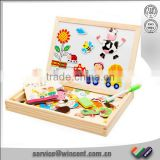 Educational Drawing board wooden magnetic puzzle jigsaw