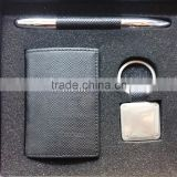 innovative office new year gift set with pen and leather card holder, stainless steel keychain