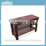 Walnut Wooden shoe changing bench layers shoe storage stool