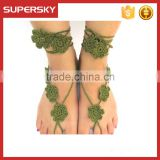 V-983 Barefoot Sandals Crochet Cotton Foot Jewelry Handmade Anklet Bracelet Ankle Chain Hand