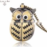 fashion brass color antique watch necklace owl style pocket watch
