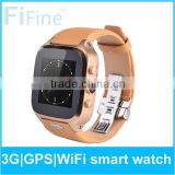 4.4 Android GSM WCDMA MTK6572 smartwatch mobile phone waterproof watch phone gps