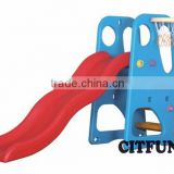 plastic slide with basketball hoops