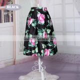 European Style New Fashion Retro Lady Women Elastic Waist Floral Midi Skirt
