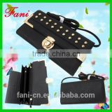2015 newest design handmade PU/leather wallet purses for human with shoulder strap and rivets design