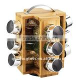 SINOGLASS 12 Pcs Bamboo Rack Set with Plastic Lid revolving Cylinder Shape Glass spice rack