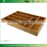 BH009/ 6-Slot Kitchen Bamboo Drawer Organizer With Flatware Cutlery Accessories or Gadgets Tray