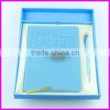 Luxury blue color office stationery gift set VIP business gift set inludes pen and notebook