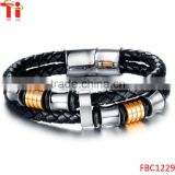 Double Braided Leather Bracelet for Men with Stainless Steel and Black Genuine Leather Straps 9.1 Inches