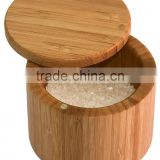 Bamboo Salt Box, Bamboo Container With Magnetic Lid For Secure Storage