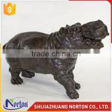 Life size black bronze hippo sculpture for river decoration NTBH-045LI