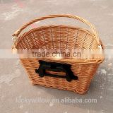D Shape BICYCLE FRONT WICKER PANNIER BASKET with quick release bracket