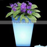 LED large garden flower pots blue /led plastic small cube led flower pot indoor flower pot