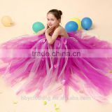 One Shoulder Cheap Flower Girl Colorful Ankle Length Tutu Dress Toddler Kids Birthday Party Dresses For Photo Props